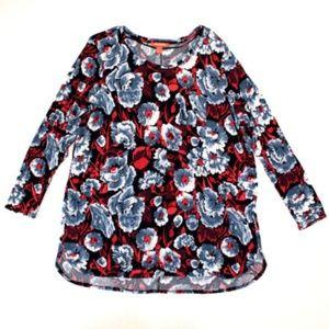 Joe Fresh+ Womens Top Shirt Blouse Floral Tunic 1X